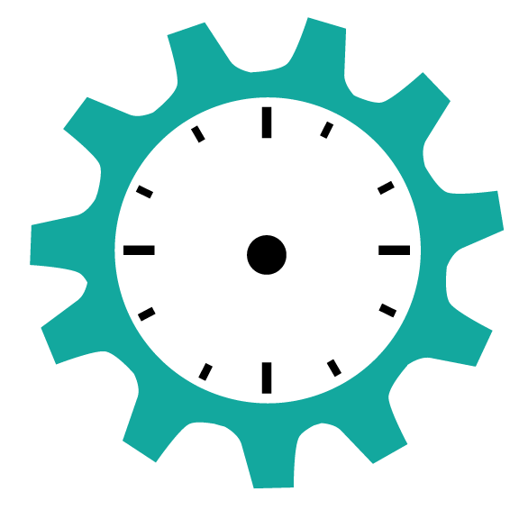 Clock Face - Teal Gear Clock