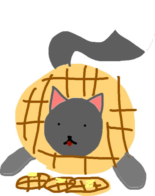 drawing - waffles bending down to eat waffles