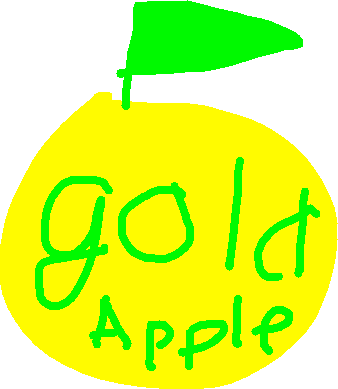 gold apple - drawing
