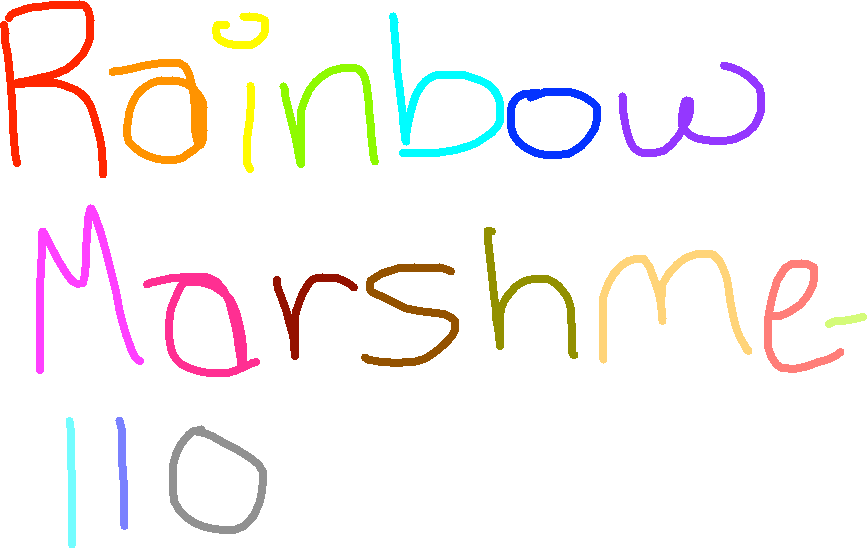 drawing - rainbow marshmello sign