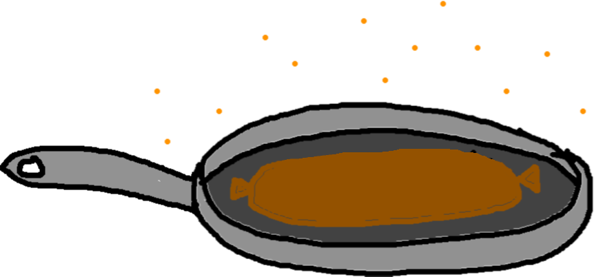 frying pan - cooking sausage