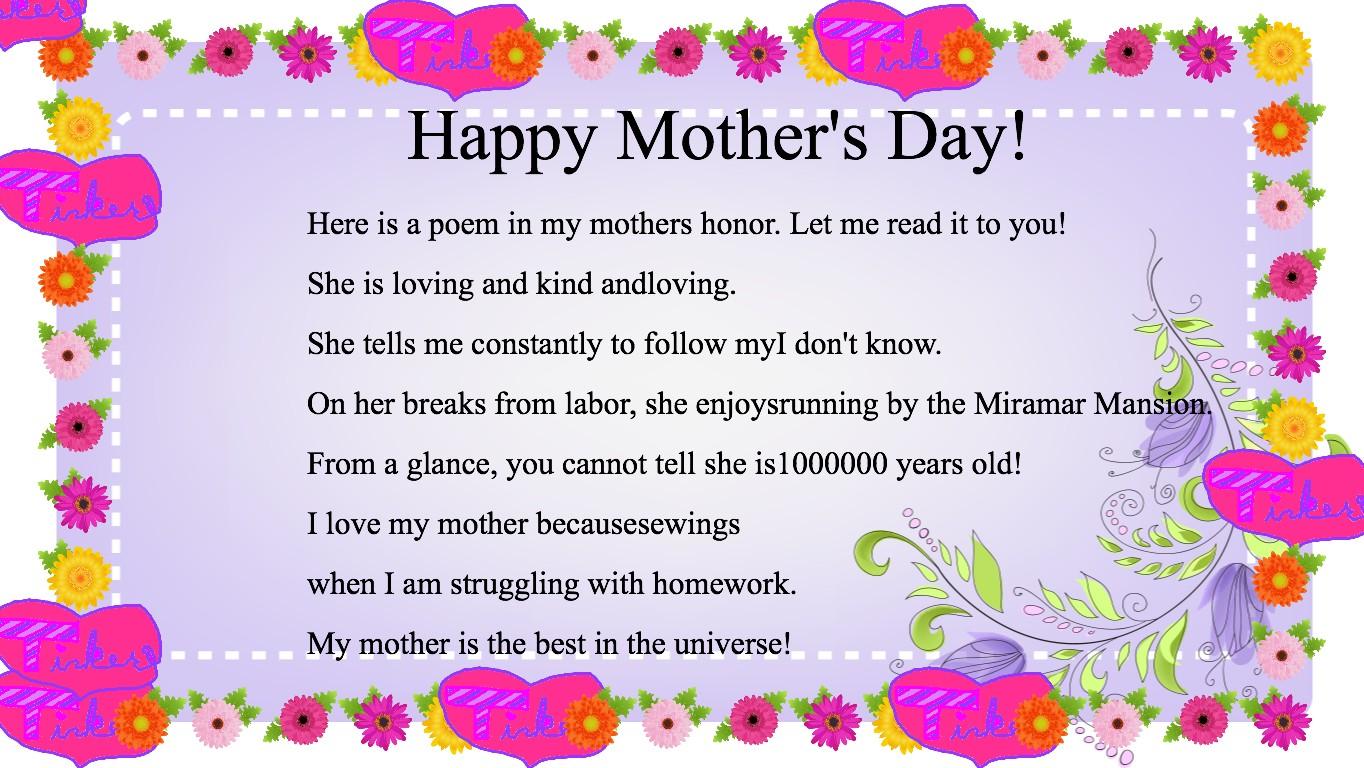 Mothers Day Poem Tynker
